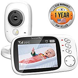 Video Baby Monitor Long Range  Upgraded 850′ Wireless Range,  Night Vision, Temperature Monitoring and Portable 2″ Color Screen  Serenelife USA SLBCAM20