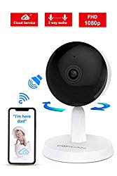 Video Baby Monitor,Foscam X1 1080P Wireless Pet Baby Monitor 2 Way Audio 1 Button Call Night Vision Smart Home Indoor Security Camera Works with Alexa, 2.4GHZ Cloud Service Human Motion Detection