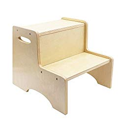 WOOD CITY Wooden Toddler Step Stool for Kids, Bathroom Potty Stool & Kitchen Stool, Two Step Stool for Bedroom, Children's Stool with Handles and Safety Non-Slip Pads