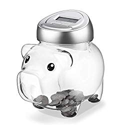 Younion Piggy Digital Coin Bank, Automatic Coin Counter Totals All U.S. Coins, Clear Money Saving Jar with LCD Display, Silver