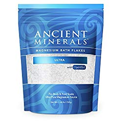 Ancient Minerals Magnesium Bath Flakes Ultra with OptiMSM – Resealable Magnesium Supplement Bag of Zechstein Chloride with Proven Better Absorption Than Epsom Bath Salt (1.65 lb)