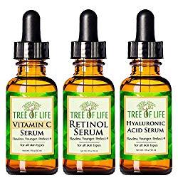 Anti Aging Serum 3-Pack for Face – Vitamin C Serum, Retinol Serum, Hyaluronic Acid Serum – Face Serum Full Regimen
