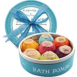 Aofmee Bath Bombs, 7 Pcs Fizzies Spa Kit Perfect for Moisturizing Skin, Birthday Valentines Mothers Day Anniversary Christmas Best Gifts Idea for Women, Mom, Her, Kids