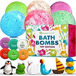 Bath Bombs Kids Gift Set – Big Ball Fizzy Bath Bombs With Toys Surprise Inside Gift Box Idea for Girls and Boys Bubble Bath Natural Aromatherapy Kid Boms for Bathbomb Kit Shea Non Toxic