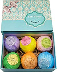 Bath Bombs Ultra Lush Gift Set By NATURAL SPA – 6 XXL All Natural Fizzies With Dead Sea Salt Cocoa And Shea Essential Oils – Best Gift Idea For Birthday, Mom, Girl, Him, Kids – Add To Bath Basket
