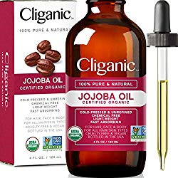 Cliganic USDA Organic Jojoba Oil, 100% Pure (4oz Large) | Natural Cold Pressed Unrefined Hexane Free Oil for Hair & Face | Base Carrier Oil | Cliganic 90 Days Warranty