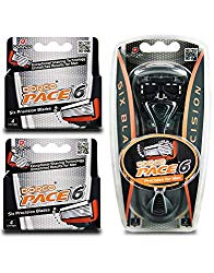 Dorco Pace 6- Six Blade Razor Blade System – Value Pack (10 Pack + 1 Handle)