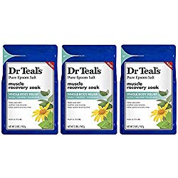Dr. Teal's Epsom Salt – Muscle Recovery Soak – Whole Body Relief with Arnica, Menthol, Eucalyptus – 2lb bag (Pack of 3)