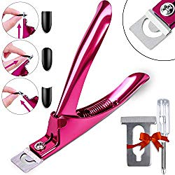Elegant Violet Red Premium Adjustable Stainless Steel Artificial Acrylic Fake False Nail Tip Clipper Cutter Trimmer Manicure Pedicure Sharp Blade Clip Tool For Salon Home Nail Art Beauty Design DIY