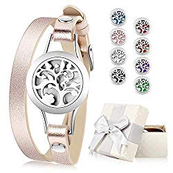 Essential Oil Diffuser Bracelet, Aromatherapy Bracelet Jewelry Stainless Steel Locket Leather Band with 8pcs Washable Refill Pads Birthday Gifts for Women,Girlfriend, Mother,Sister,Aunt.