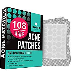 ICONIC Acne Pimple Healing Patch – Absorbing Cover, Invisible, Blemish Spot, Hydrocolloid, Skin Treatment, Facial Stickers, Two Sizes, Blends in with skin (108 Patches)