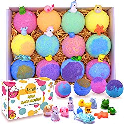 Kids Bath Bombs with Surprise Toys Inside – Lush Bubble Bath Fizzies Vegan Essential Oil Spa Bath Fizz Balls Kit for Girls/Boys/Women Dry Skin Moisturize, Handmade 12 Gift Set, Kid Safe