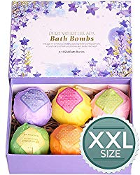 LuxSpa Bath Bombs Gift Set – The Best Ultra Lush Natural Bubble Fizzies With Dead Sea Salt Cocoa And Shea Essential Oils, 6 x 4.1 oz, The Best Birthday Gift idea For Her/Him, wife, girlfriend, women.