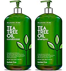 MAJESTIC PURE Tea Tree Shampoo and Conditioner Set for Men and Women -16 fl oz each – Hydrating and Fighting Dandruff, Lice and Itchy, Irritating or Dry Scalp – For All Hair Types – Sulfate Free