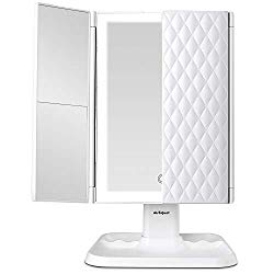 Makeup Mirror Vanity Mirror with Lights – 3 Color Lighting Modes 72 LEDs Trifold Mirror, Touch Control, 1x/2x/3x Magnification, Portable High Definition Cosmetic Lighted Up Mirro