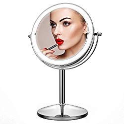 Makeup Mirror with Light,10X Magnification Makeup Mirror,JOMARTO Vanity Mirror,Double Sided Dimmable Cosmetic Mirror with Touch Control 360°Rotation Battery Powered, Only Sale by pufenda-us