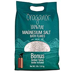 Oraganix Magnesium Salt Bath Flakes. 100% Pure Magnesium Chloride (8 lbs) – Better Absorption than Epsom Salt Plus 8oz Amber Plastic Spray Bottle