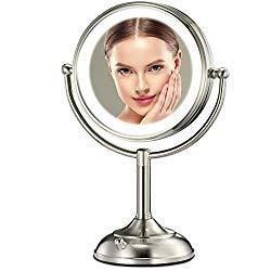 Professional 8.5″ Lighted Makeup Mirror, 10X Magnifying Vanity Mirror with 32 Medical LED Lights, Senior Pearl Nickel Cosmetic Mirror,Brightness Adjustable(0-1100Lux) Desk Lamp Night Light Alternative
