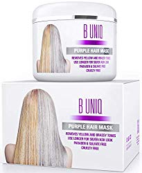 Purple Hair Mask for Blonde, Platinum & Silver Hair – Banish Yellow Hues: Blue Masque to Reduce Brassiness & Condition Dry Damaged Hair – Sulfate Free Toner – 7.27 Fl. Oz / 215 ml
