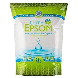 SaltWorks Ultra Epsom Premium Epsom Salt, Medium Grain, 25 Pound Bag