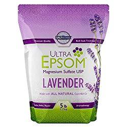 SaltWorks Ultra Epsom Premium Scented Epsom Salt, Lavender, 5 Pound Bag (Packaging May Vary)