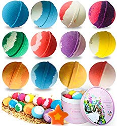 STNTUS Bath Bombs, 12 Counts Handmade Natural Spa Bubble Bath Bomb Gift Set, Floating Fizzies with Relaxation and Moisturizing, Perfect Valentines Birthday Christmas Gift for Women, Kids