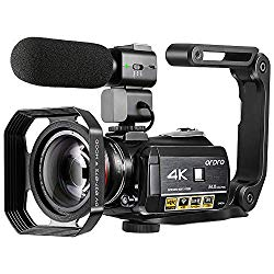 "4K Camcorder, ORDRO AC3 Ultra HD Video Camera 1080P 60FPS IR Night Vision Camcorder and WiFi Camera Recorder 3.1"" IPS Touch Screen Digital Camcorders with Microphone Wide Angle Lens"