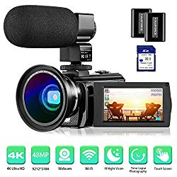 4K Camcorder Video Camera Rosdeca Ultra HD 48.0MP WiFi Digital Camera IR Night Vision 3.0″ IPS Touch Screen 16X Digital Zoom with External Microphone, Wide Angle Lens, 2 Batteries and Memory Card