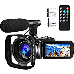 Camcorder Video Camera ,Ultra HD 2.7K Vlogging Camera 30 FPS 24MP Wifi Camcorders with Microphone and Lens Hood IR Night Vision YouTube Camera with two batteries