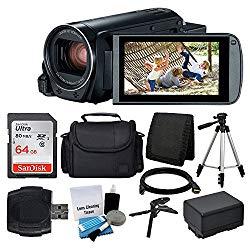 Canon VIXIA HF R800 Camcorder (Black) + SanDisk 64GB Memory Card + Digital Camera/Video Case + Extra Battery BP-727 + Quality Tripod + Card Reader + Tabletop Tripod/Handgrip – Deluxe Accessory Bundle