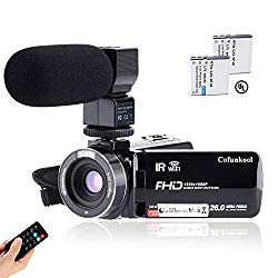 CofunKool Camcorder 1080P 26MP Video Camera WiFi Vlogging Camera for YouTube, 270° Flipping 3.0″ IPS Touch Screen, IR Night Vision, with Microphone Remote Control, Support USB, TV Output