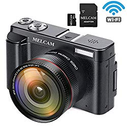 MELCAM Digital Video Camera Camcorder Full HD 1080P 24.0MP YouTube Vlogging Camera with Wide Angle Lens and 32GB SD Card, 3.0″ Screen, WiFi Function, Face Detection, Flash Light, 16 Digital Zoom