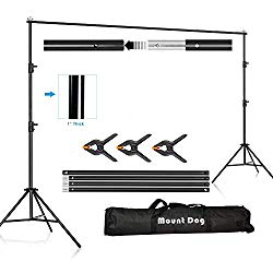 MOUNTDOG Backdrop Support Stand 10×6.5ft Adjustable Photography Studio Background Support System Kit with Carrying Bag for Photo Video Shooting