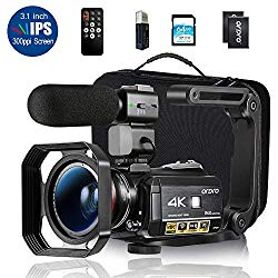 Ordro AC3 4K Camcorder HD Digital Video Camera 1080P 60FPS Infrared Night Vision 3.1″ IPS Screen with Microphone, Wide Angle Lens, Lens Hood, 64GB SD Card, Handle,2 Batteries,Carrying Case