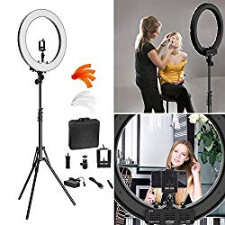 Ring Light Kit:18″ 48cm Outer 55W 5500K Dimmable LED Ring Light, Light Stand, Carrying Bag for Camera,Smartphone,YouTube,Self-Portrait Shooting