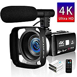 SEREE Camcorder 4K 30MP WIFI Control Digital Camera 3.0″ Touch Screen Night Vision Video Camcorder Vlogging Camera with External Microphone