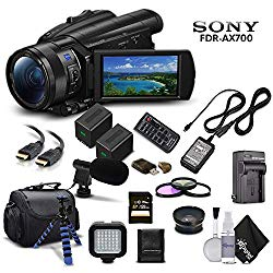 Sony Handycam FDR-AX700 4K HD Video Camera Camcorder + Extra Battery and Charger + 3 Piece Filter Kit + Wide Angle Lens + Case + Tripod and More – Advanced Bundle