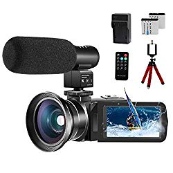 Video Camera 1080P Camcorder CofunKool 24.0MP Vlogging Camera for YouTube, 270° Flipping 3.0″ IPS Touch Screen IR Night Vision with Microphone Wide Angle Lens Remote Control Mini Tripod