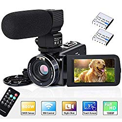 Video Camera Camcorder WiFi IR Night Vision FHD 1080P 30FPS 26MP YouTube Vlogging Camera Recorder 3″ Touch Screen 16X Digital Zoom Digital Camera with Microphone Remote Control