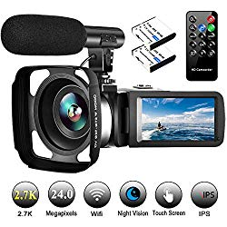 Video Camera Camcorder with Microphone Vlogging Camera YouTube Camera Recorder 2.7K Ultra HD 30FPS 24.0MP Wifi IR Night Vision 3.0″ LCD Touch Screen