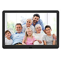 10 inch Digital Picture Frame with 1920×1080 IPS Screen Digital Photo Frame Adjustable Brightness, Photo Deletion, Timing Power On/Off, Background Music Support 1080P Video, SD Card and USB