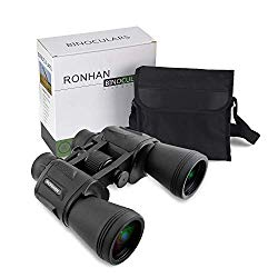 20×50 High Power Military Binoculars, Compact HD Professional/Daily Waterproof Binoculars Telescope for Adults Bird Watching Travel Hunting Football-BAK4 Prism FMC Lens-with Case and Strap (20X50)