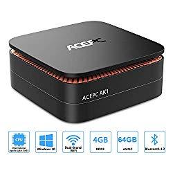 ACEPC AK1 Mini PC, Windows 10 (64-bit) Intel Celeron Apollo Lake J3455 Processor(up to 2.3GHz) Desktop Computer,4GB DDR3/64GB eMMC,2.4G+5G Dual WiFi,Gigabit Ethernet,BT 4.2,4K