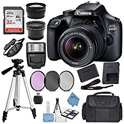 "Canon EOS 4000D Digital SLR Camera w/ 18-55MM DC III Lens Kit (Black) with Accessory Bundle, Package Includes: SanDisk 32GB Card + DSLR Bag + 50"" Tripod+Extreme Elec Cloth (International Model)"