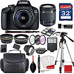 Canon EOS 4000D DSLR Camera with 18-55mm f/3.5-5.6 III + Professional Accessory Bundle