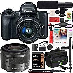 Canon EOS M50 Mirrorless Camera with 4K Video and EF-M 15-45mm Lens Kit (Black) and Deco Gear Deluxe Travel Gadget Bag Case + Microphone + Monopod + Filter Set + 64GB Memory Card Accessory Kit Bundle