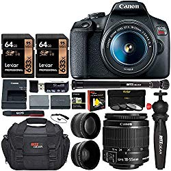 Canon EOS Rebel T7 DSLR Camera Travel Bundle with 58mm 2X Professional Telephoto & 58mm Wide Angle Lenses + Lexar 128GB + Compact Monopod + Table Tripod+ Filter Kit (UV,CPL, ND8) + Camera Bag + More