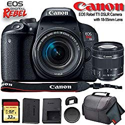 Canon EOS Rebel T7i DSLR Camera with 18-55mm Lens (USA Model) (1894C002) with 32GB Memory Card, Premium Soft Case, and More – Starter Bundle