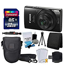 Canon PowerShot ELPH 190 is Digital Camera (Black) + Transcend 32GB Memory Card + Camera Case + USB Card Reader + Screen Protectors + Memory Card Wallet + Cleaning Pen + Great Value Accessory Bundle