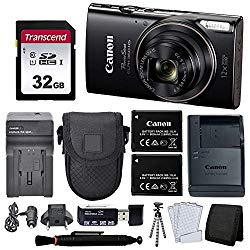 Canon PowerShot ELPH 360 HS Digital Camera (Black) + Black Point & Shoot Case + AC/DC Travel Charger & Replacement Battery + Transcend 32GB UHS-I U1 SD Memory Card + Top Value Accessories!
